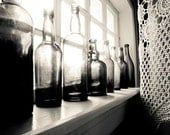 "Vintage glass bottle print - black and white photography - crochet lace - kitchen art - window monochrome wall art ""Many Stories to Tell"""