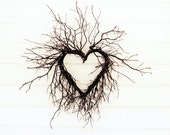 "Heart photograph, cottage chic wall art, rustic white rustic decor, natural heart of branches 8x10 20x24  ""Wild Heart"""