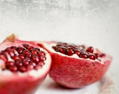 "Pomegranate art - fruit still life - food photography - red kitchen art - minimal modern food print ""Ruby Fruit"""