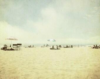 "Beach ocean photography print, neutral print vintage retro minimalist summer photography pastel sunbathing beach umbrellas ""August Day"""
