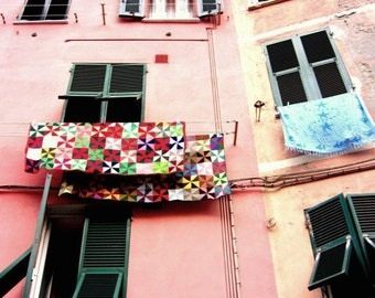 Italy travel photograph colorful wall art rainbow geometric laundry room decor pink architecture 'Candy Quilt'