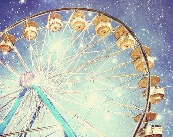 Fine Art Photography, Carnival Photography, Ferris Wheel, Stars, Sparkly Lights, Indigo Blue, Night Sky, Nursery Room Decor, 8x8 20x20 print