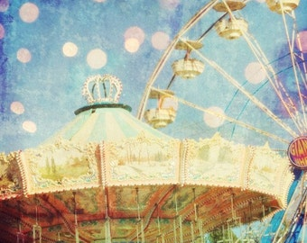 """Carnival Ride Photograph, sparkle colorful lights, ferris wheel photo, nursery decor, periwinkle blue 8x8 12x12  """"Too Much Fun"""""""