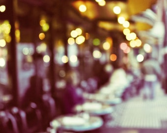 San Francisco photography city street cafe  sparkle city lights dusk evening night art amber gold plum art 'Cafe Bokeh'