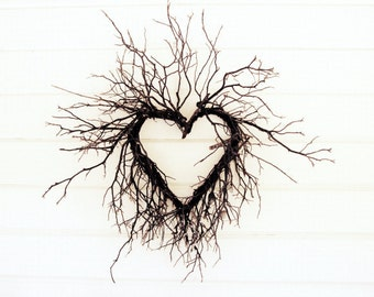 """Heart photograph cottage chic wall art modern rustic white decor natural heart of branches """"Wild Heart"""""""