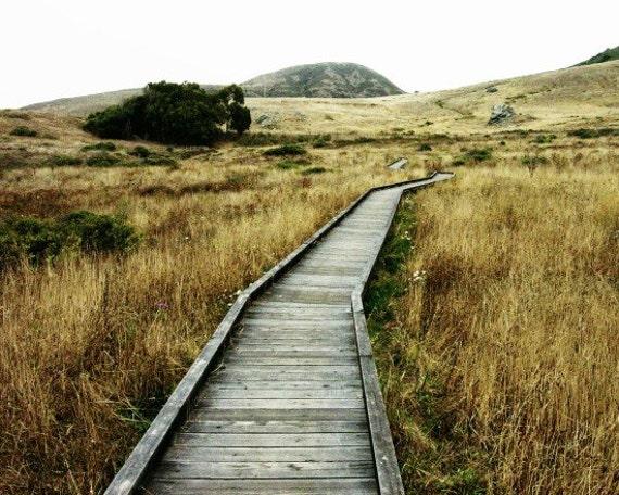 "California Photograph - dark gold - rustic wall art - autumn decor - ochre gray decor - wood boardwalk ""The Journey Awaits"""