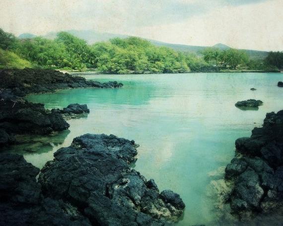 "Beach ocean photography print, black lava Hawaii landscape aqua green blue water wall art ""Blue Earth"""