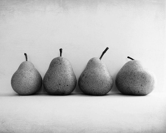 Black and White Photography - pear still life - food minimal zen home decor - large wall art - gray kitchen fine art print - Four Pears