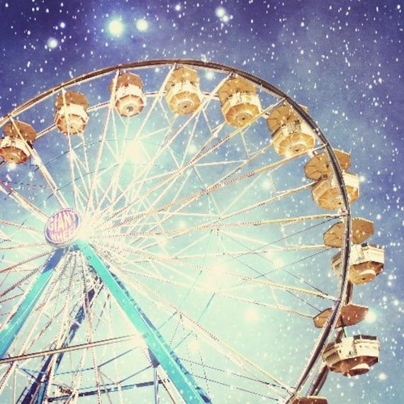 Fine Art Photography | Carnival Photography | Ferris Wheel | Stars | Sparkly Lights | Indigo Blue | Night Sky | Nursery Room Decor