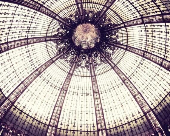 Paris photography geometric wall art print mauve plum architecture paris photography 'Sea Urchin Ceiling'