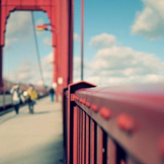 "Golden Gate Bridge San Francisco Art Red Aqua Industrial Architecture Square Wall Art print 8x8 ""Different Perspective"""