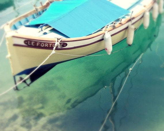 Boat photography - Nautical Decor Ocean photography Wooden boat teal blue decor water sea sailing French wall art print 8x10
