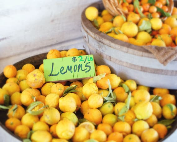 Fruit photography fresh lemons  art print yellow kitchen wall art farmhouse print - Lemons