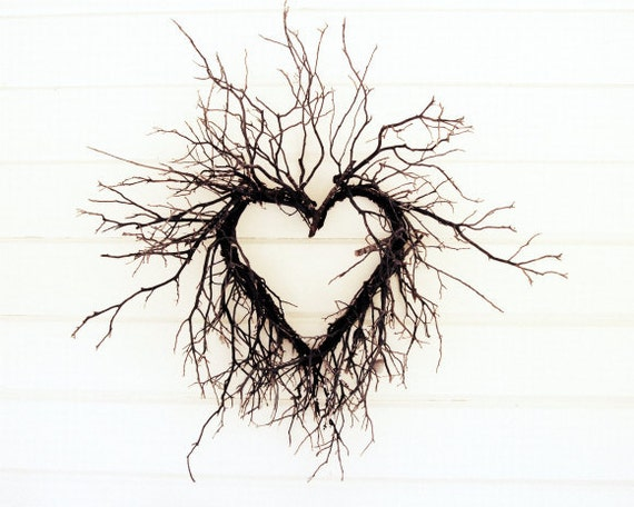 "Heart photograph | cottage chic wall art | modern rustic white decor | natural heart of branches | photography  ""Wild Heart"""