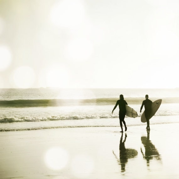 "Surf Photography / Ocean photograph white gray / california surfer wall art / sepia beach photography modern  ""Pull of the Tide"""