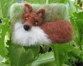 Needlefelt Art ACEO Wool Tapestry Fox by Artist Karen Clothier