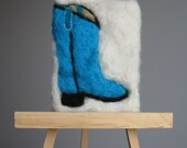 Needle Felted ACEO Wool Tapestry Ladies Cowboy Boots by artist Karen Clothier