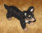 Needle Felted Dog Chihuahua Black and Tan Sculpture by Artist Karen Clothier