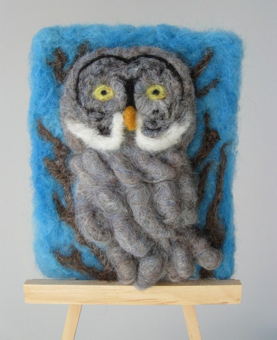 Needle Felted Great Gray Owl Portrait by artist Karen Clothier