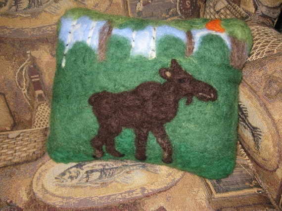Needle Felted Wool  Decorative Pillow Moose in the Morning Mist Portrait Pillow by artist Karen Clothier