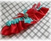 Aqua and Red Bridal Garter
