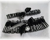 Black And White Jack Skellington The Nightmare Before Christmas Wedding Bridal Garter Set- X-Large