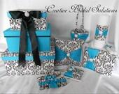 Black and White Madison Damask Wedding 7pc Set- Turquoise