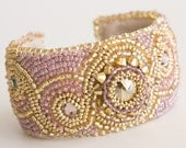 ON SALE Beaded Cuff Bracelet in Gold and Pink Crystals