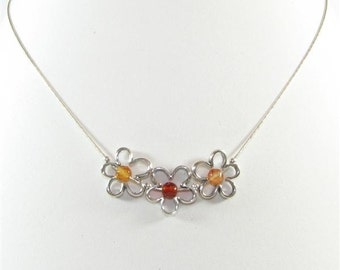 Sterling Silver Chain Necklace with Daisy Pendants and Agate Gemstone Beads in Red Topaz and Orange. Antique Silver Flower Pendant S265