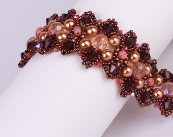 Bracelet with Swarovski Crystals and Pearls in Colors of Dark Reddish Brown, Coral Pink, Dark Copper and Peach. Vintage Style Bracelet. S105