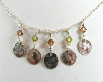 Delicate Sterling Silver Necklace with Swarovski Crystals in Brown and Khaki and Dangling Hammered Disc Pendants. Boho Chain Necklace S247