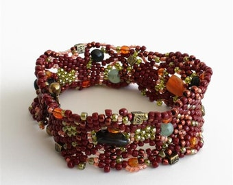Freeform Beadwoven Bracelet in Red / Brown with Green Jade and Onyx Gemstones, Orange and Brass Square Beads, Earthtone Colors, OOAK S231
