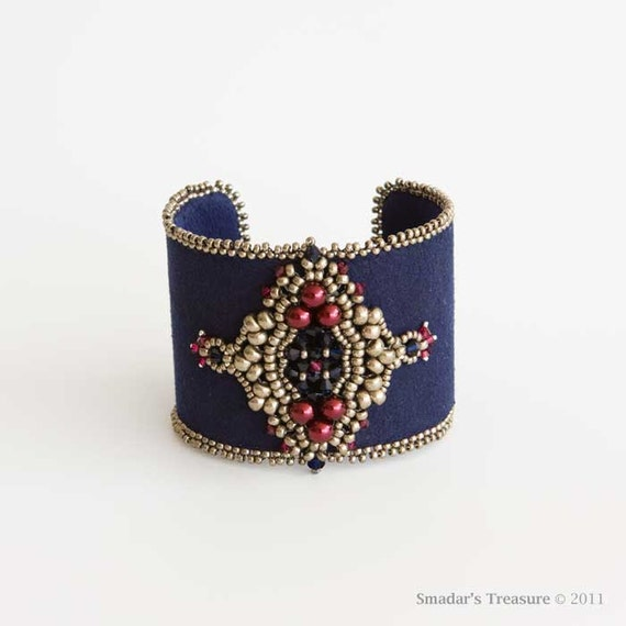 Royal Blue Cuff Bracelet with Swarovski Crystals and Pearls in Dark Blue and Ruby Red and Antique Silver Seed Beads. Bead Embroidered Cuff