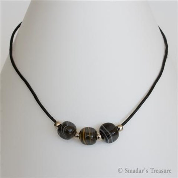 Black Leather Necklace with Large Triangular Black Beads with Grey, Yellow, Red and Green Stripes. Men Jewelry Black Unisex Necklace S94