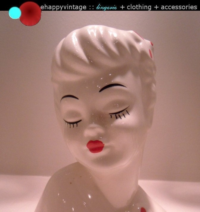 Ceramic Lady Head Glamour Girl Vase Planter Red Lips By Ehappy