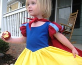 Snow White DRESS and CAPE in primary colors of red blue and yellow princess dress in Tinkerella comfort any size 12 months to girls 8.