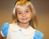 Traditional style Alice in Wonderland dress for your little girl  any size 12 mo to 12 yrs blue with white apron just like Disneyland or WDW