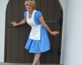 Alice in Wonderland custom boutique costume by TinkerellaCreations in blue and white cotton