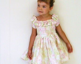 GISELLE'S New York style shopping dress in sweet floral print custom size 2T to 8 for your ENCHANTED princess