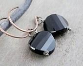 Black Crystal Earrings Swarovski Jewelry Mixed Metal Jewelry Crystal Jewelry Swarovski Earrings Oxidized Silver Handmade Two Tone