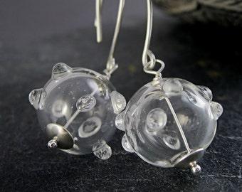 Clear  Glass Earrings    Sterling Silver  Handblown   Jewellery Hollow Glass Jewelry  Lightweight Unique Statement