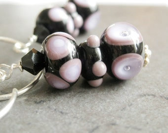Lampwork Earrings    Sterling Silver Pink       Glass   Jewelry Casual Multi Colored