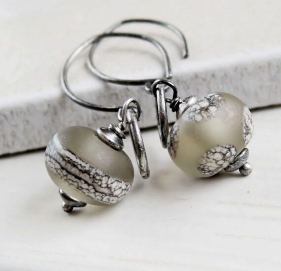 Lampwork Earrings -  Oxidized Silver, Beige,  Lampwork Jewelry, Handmade Earrings, Glass Jewellery