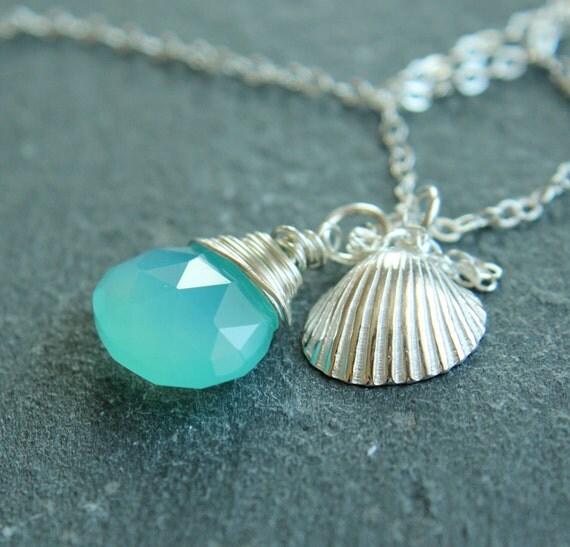 Gemstone Necklace - Chalcedony, Sterling Silver, Turquoise,  Handmade Jewelry, Shell, Gemstone Jewelry