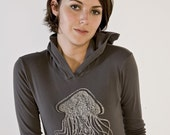 SALE - Keep Your Distance Jellyfish Hoodie - women's medium - nautical print on asphalt gray