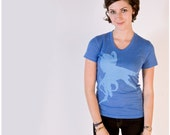 SALE - Sucker for Ink T-shirt - women's small - octopus print on blue