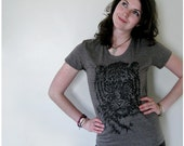 SALE - Easy, Tiger - womens t shirt - SMALL - tiger print on American Apparel heather brown track tshirt