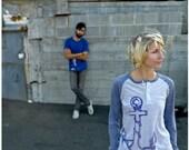 SALE - Girl in Every Port - unisex tshirt - XS - nautical anchor screenprint on long sleeved raglan henley t shirt
