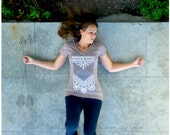 SALE - The Nomad - fall fashion - womens SMALL - arrows and lace corset on Alternative Apparel v neck tunic