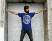 SALE - My Moon, My Man - mens tshirt - XL - moon screenprint on American Apparel heather indigo mens fashion tees